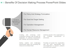 Benefits Of Decision Making Process Ppt PowerPoint Presentation Deck