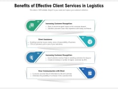Benefits Of Effective Client Services In Logistics Ppt PowerPoint Presentation Gallery Topics PDF