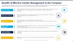 Benefits Of Effective Vendor Management To The Company Ppt Example File PDF