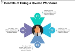 Benefits Of Hiring A Diverse Workforce Ppt PowerPoint Presentation Infographic Template Graphic Tips PDF
