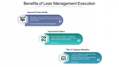 Benefits Of Lean Management Execution Ppt PowerPoint Presentation Professional Layout Ideas PDF