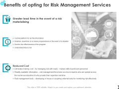 Benefits Of Opting For Risk Management Services Ppt PowerPoint Presentation Professional Infographics