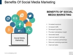 Benefits Of Social Media Marketing Ppt PowerPoint Presentation Pictures Shapes