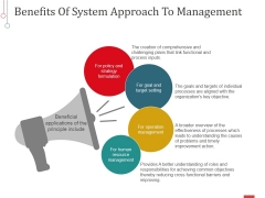 Benefits Of System Approach To Management Ppt PowerPoint Presentation Show Graphic Tips