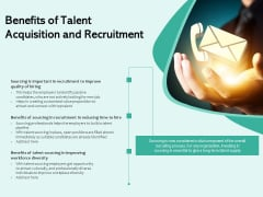 Benefits Of Talent Acquisition And Recruitment Ppt PowerPoint Presentation Model Inspiration PDF