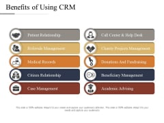Benefits Of Using CRM Ppt PowerPoint Presentation Inspiration Icon