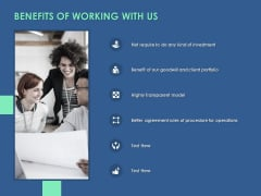 Benefits Of Working With Us Ppt PowerPoint Presentation Icon Guidelines