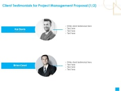Benefits Realization Management Client Testimonials For Project Management Proposal Communication Information PDF