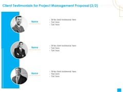 Benefits Realization Management Client Testimonials For Project Management Proposal Teamwork Diagrams PDF