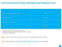 Benefits Realization Management Cost Summary For Project Management Proposal Charter Pictures PDF