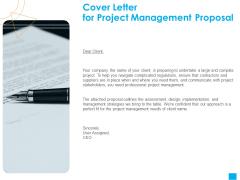 Benefits Realization Management Cover Letter For Project Management Proposal Introduction PDF