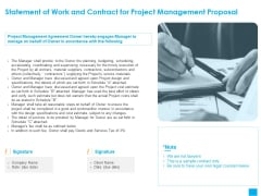 Benefits Realization Management Statement Of Work And Contract For Project Management Proposal Elements PDF