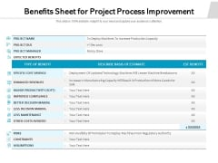 Benefits Sheet For Project Process Improvement Ppt PowerPoint Presentation File Designs PDF