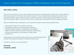 Best Data Security Software Cover Letter For Company Online Database Security Proposal Designs PDF