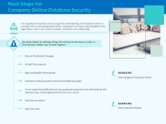 Best Data Security Software Next Steps For Company Online Database Security Infographics PDF
