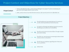 Best Data Security Software Project Context And Objectives For Cyber Security Services Pictures PDF