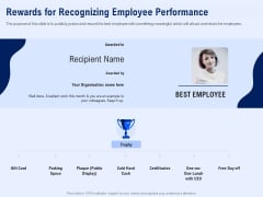 Best Employee Appreciation Workplace Rewards For Recognizing Employee Performance Sample PDF
