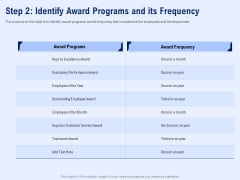 Best Employee Appreciation Workplace Step 2 Identify Award Programs And Its Frequency Structure PDF
