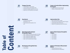 Best Employee Appreciation Workplace Table Of Content Ppt Portfolio Diagrams PDF