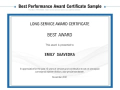 Best Performance Award Certificate Sample Ppt PowerPoint Presentation File Background PDF