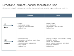 Best Practices Increase Revenue Out Indirect Sales Direct And Indirect Channel Benefits And Risks Mockup PDF