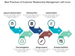 Best Practices Of Customer Relationship Management With Icons Ppt Powerpoint Presentation Backgrounds