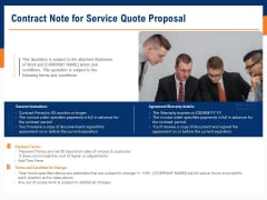 Bids And Quotes Proposal Contract Note For Service Quote Proposal Ppt Templates PDF