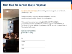 Bids And Quotes Proposal Next Step For Service Quote Proposal Ppt Summary Infographic Template PDF