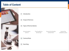 Bids And Quotes Proposal Table Of Content Ppt Summary Samples PDF
