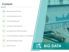 Big Data Analytics Content Implementation Roadmap Ppt Inspiration Ideas PDF