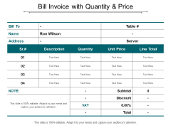Bill Invoice With Quantity And Price Ppt Powerpoint Presentation Diagram Ppt