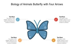 Biology Of Animals Butterfly With Four Arrows Ppt PowerPoint Presentation Gallery Portfolio PDF
