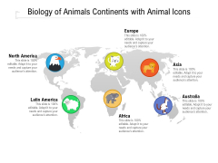 Biology Of Animals Continents With Animal Icons Ppt PowerPoint Presentation File Pictures PDF