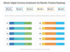 Bitcoin Digital Currency Investment Six Months Timeline Roadmap Diagrams