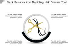 Black Scissors Icon Depicting Hair Dresser Tool Ppt PowerPoint Presentation Background PDF