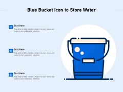 Blue Bucket Icon To Store Water Ppt PowerPoint Presentation File Portfolio PDF