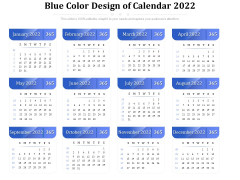 Blue Color Design Of Calendar 2022 Ppt PowerPoint Presentation Gallery Ideas PDF