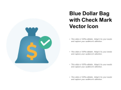 Blue Dollar Bag With Check Mark Vector Icon Ppt PowerPoint Presentation Ideas Demonstration