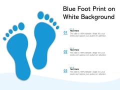 Blue Foot Print On White Background Ppt PowerPoint Presentation Professional Display PDF