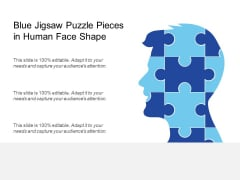 Blue Jigsaw Puzzle Pieces In Human Face Shape Ppt PowerPoint Presentation Infographic Template Visuals PDF