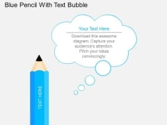 Blue Pencil With Text Bubble Powerpoint Template