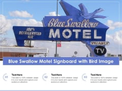 Blue Swallow Motel Signboard With Bird Image Ppt PowerPoint Presentation File Pictures PDF