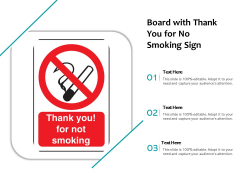 Board With Thank You For No Smoking Sign Ppt PowerPoint Presentation Icon Files PDF