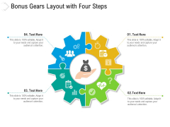 Bonus Gears Layout With Four Steps Ppt PowerPoint Presentation Gallery Background PDF