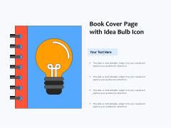 Book Cover Page With Idea Bulb Icon Ppt PowerPoint Presentation Gallery Deck PDF