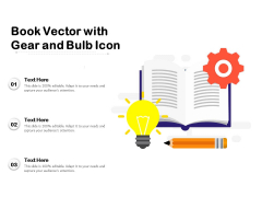 Book Vector With Gear And Bulb Icon Ppt PowerPoint Presentation Inspiration Format Ideas PDF