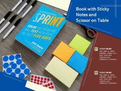 Book With Sticky Notes And Scissor On Table Ppt PowerPoint Presentation Slides Objects PDF