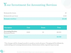 Bookkeeping Bookkeeping Your Investment For Accounting Services Ppt PowerPoint Presentation Gallery Smartart PDF