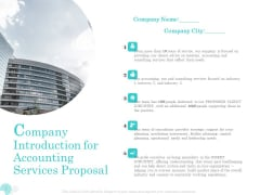 Bookkeeping Company Introduction For Accounting Services Proposal Ppt PowerPoint Presentation Styles Background Image PDF