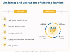 Boosting Machine Learning Challenges And Limitations Of Machine Learning Ppt PowerPoint Presentation Portfolio Infographics PDF